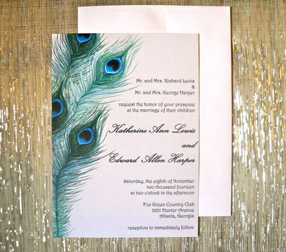 Peacock Feathers Wedding Invitation By Silhouettedesign On Etsy