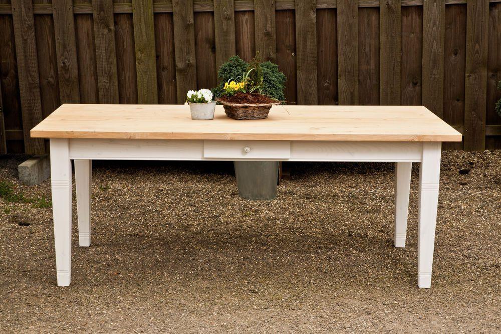 Esstisch Massivholztisch Küche Landhaus Shabby 200 cm mod.01 weiss ...