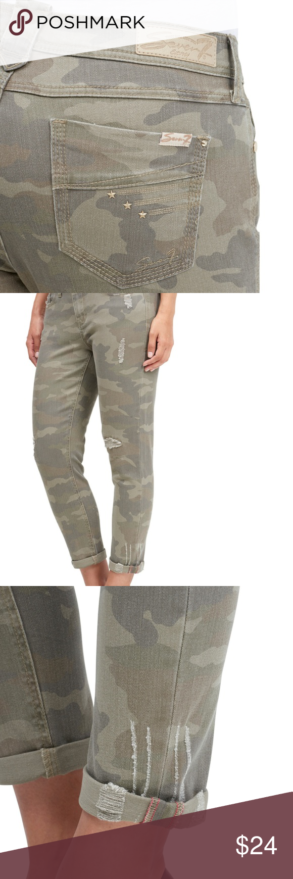 e9deec59a68b7 7 For All Mankind Army Camo Jeans Stretch Jegging 7 For All Mankind SKINNY  EASY FIT JEAN Skinny but not tight, thisfive-pocket jean features a muted  camo ...