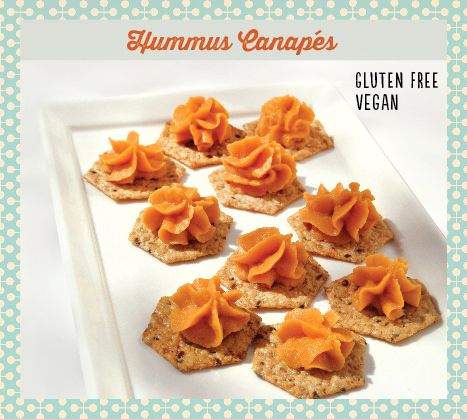 Easy hummus canapes made with lilly 39 s roasted red pepper for Gluten free canape