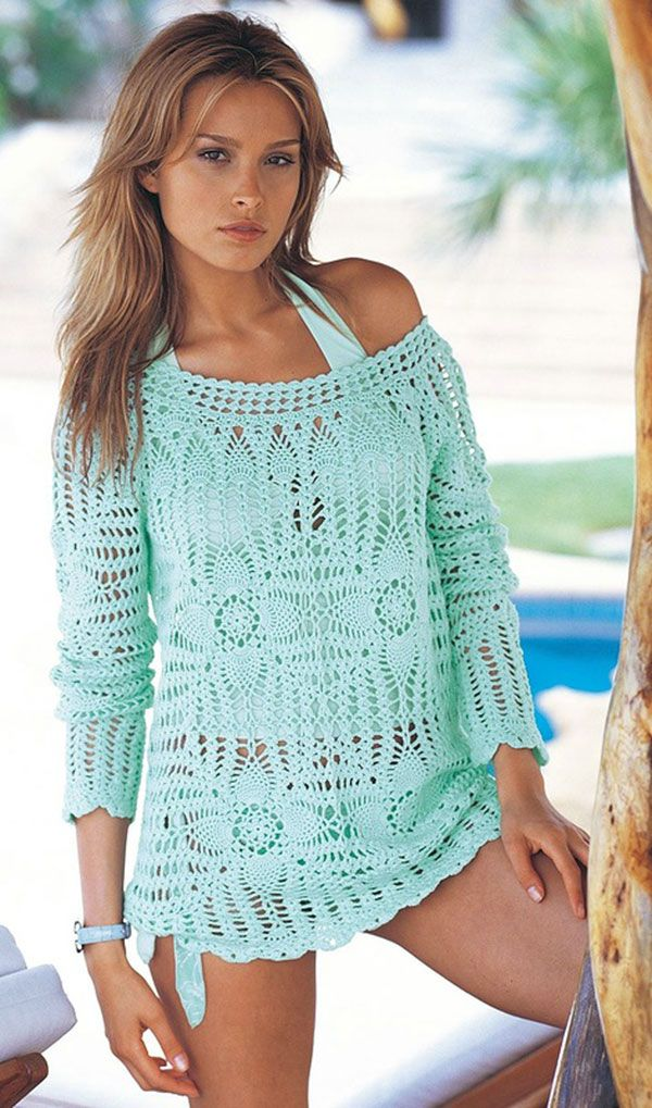 96b385488db Crochet Beach Cover Up Free Patterns Women Summer Top | Crochet ...