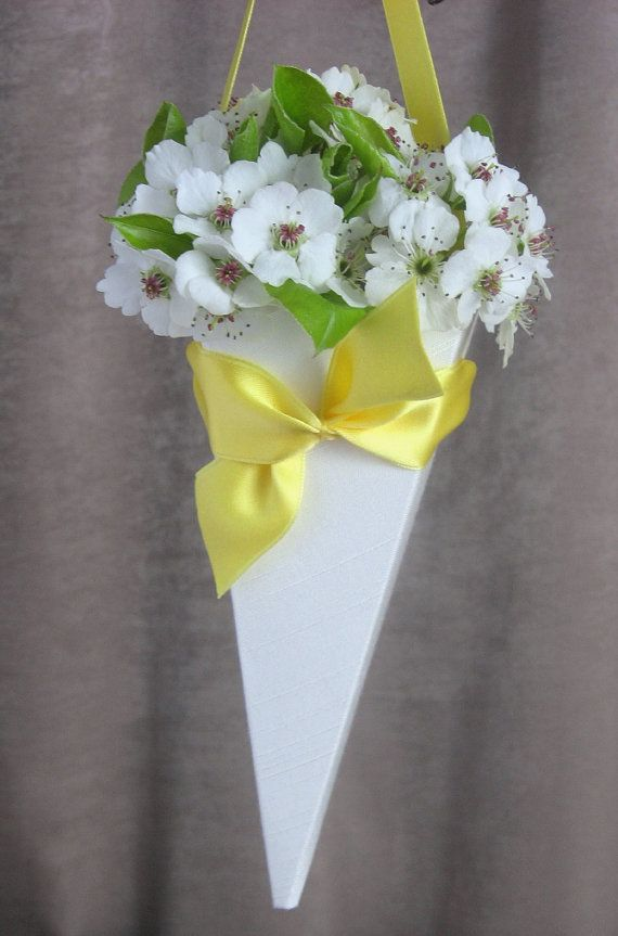 Customizable small fabric and paper floral treat cone this floral cone in white yellow wedding flowers flower girl basket mightylinksfo