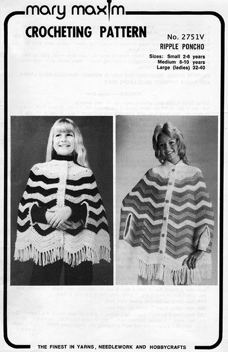 Use this vintage pattern to crochet a poncho.