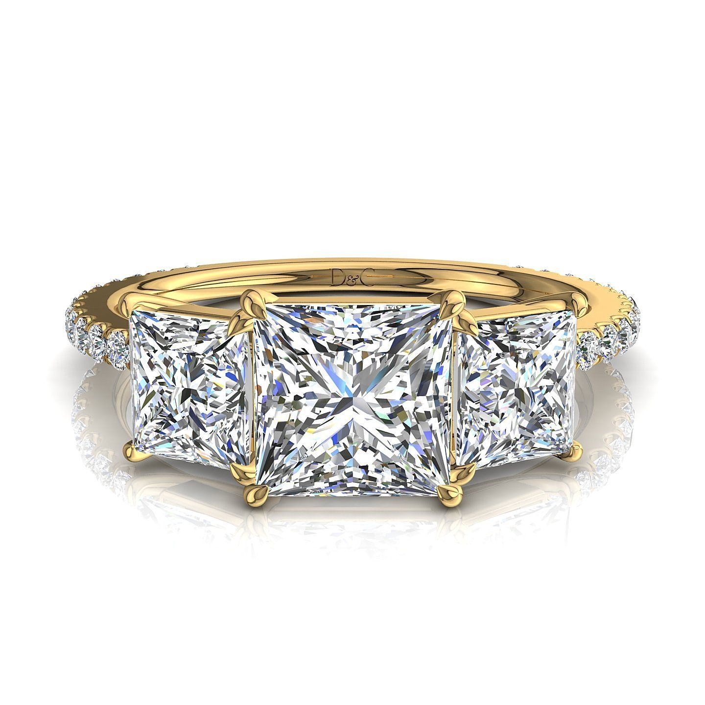 Bien-aimé Bague de fiançailles diamants princesses or jaune 1,30 carats  FX44