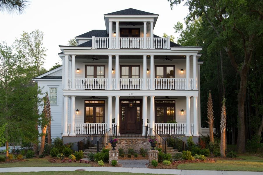 charleston home design%0A Charleston Style home with double porch and brick fireplace    Exterior Home  Elevations   Pinterest   Brick fireplace  Porch and Bricks