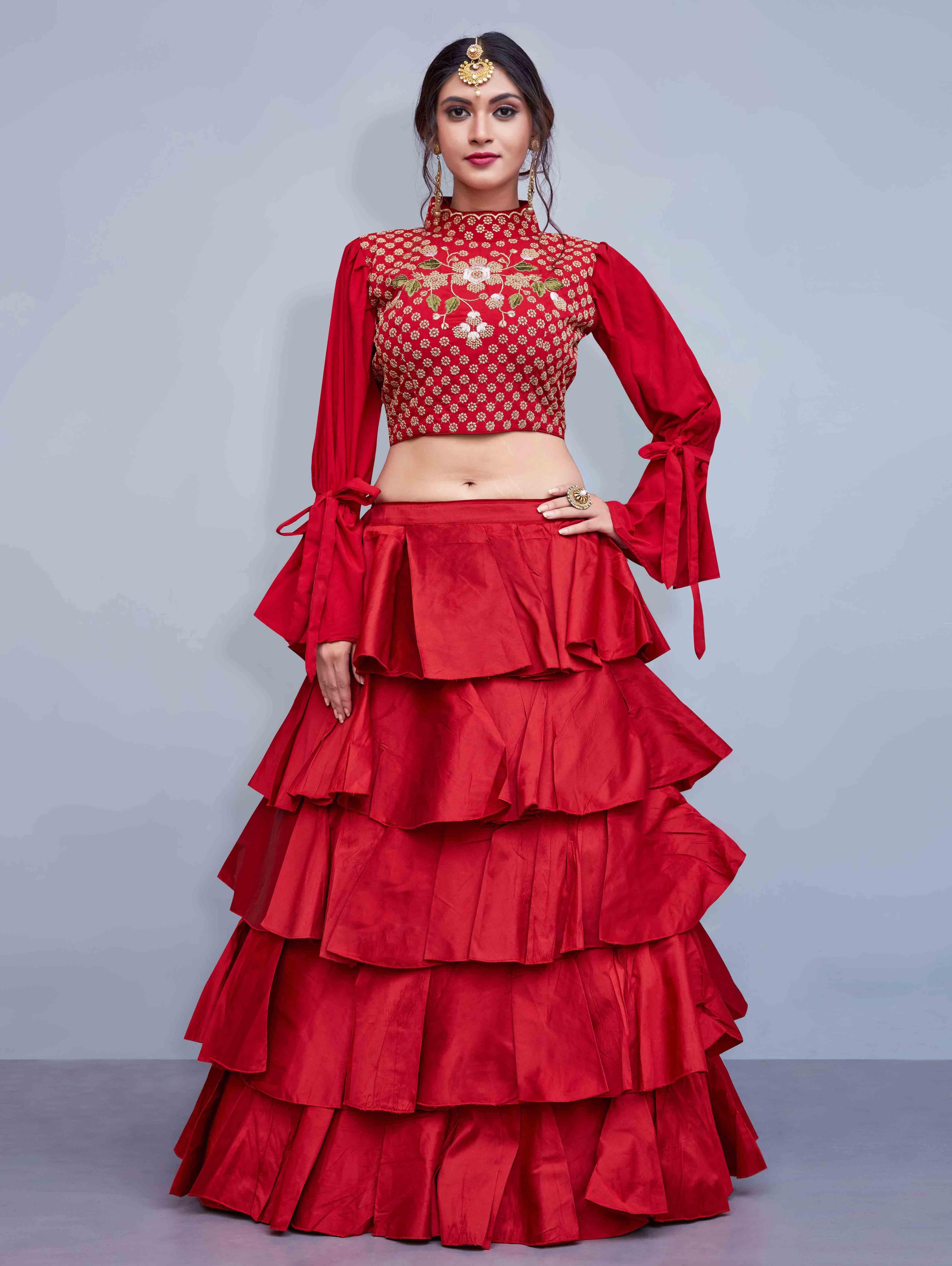 8b0d6af4f4b225 Red Art Silk Frilled Lehenga Choli | Crop top lehengas | Silk ...