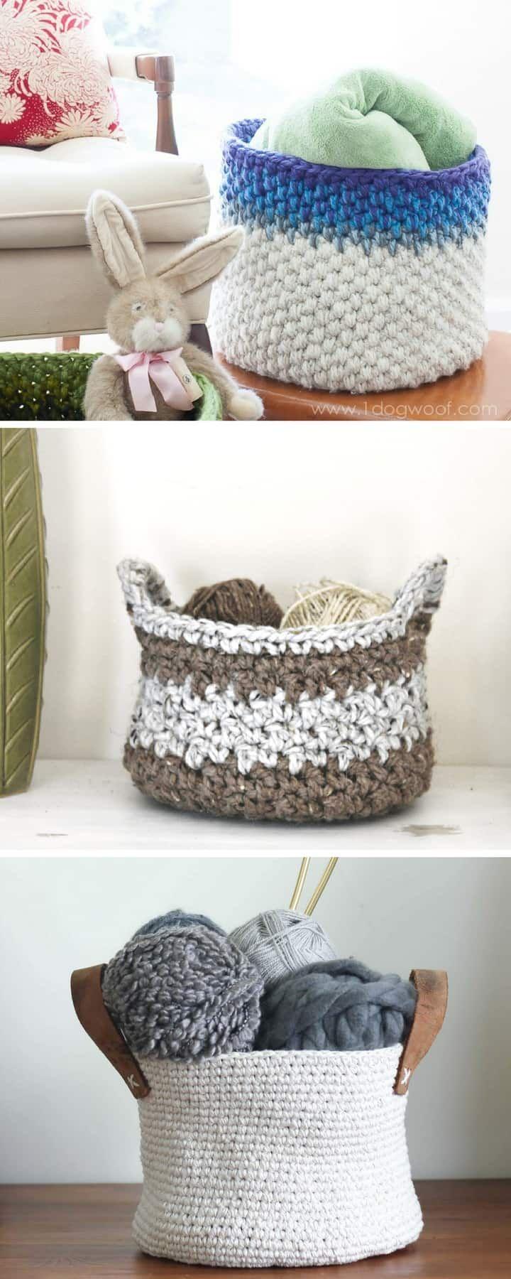 20 Free Crochet Basket Patterns to Make today!