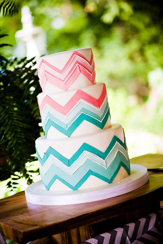 Pink and turquoise blue wedding cake Wedding Cakes and Pies