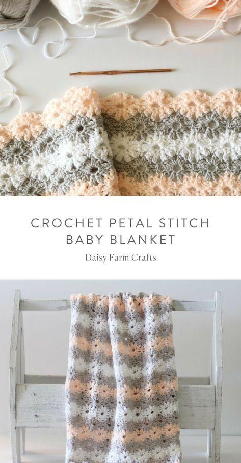 Free Pattern - Crochet Petal Stitch Baby Blanket | crochet ...