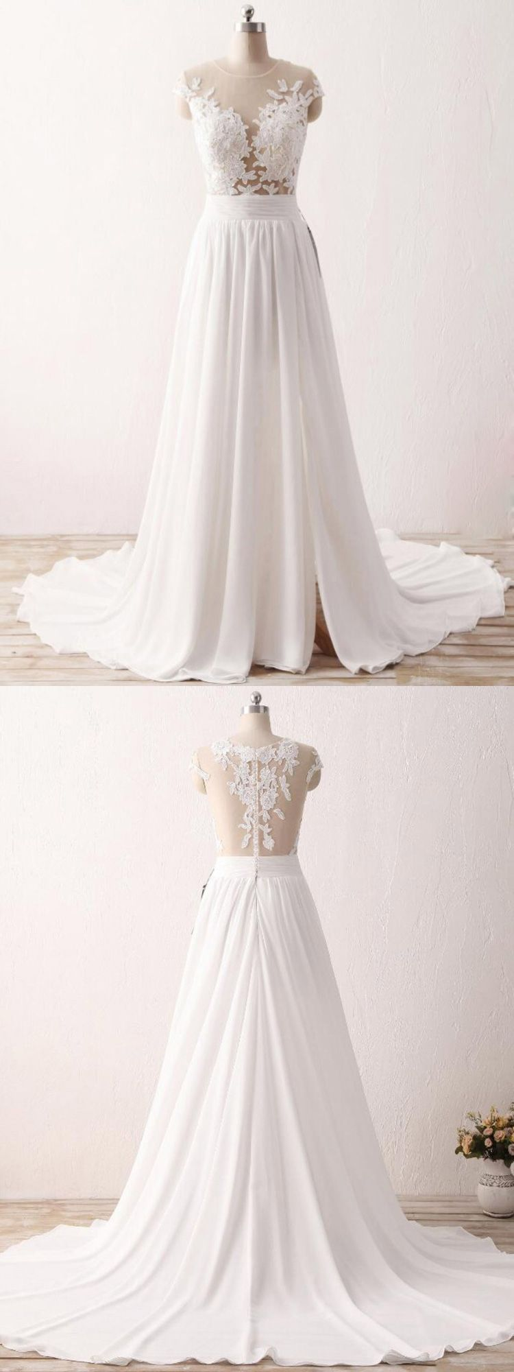 Wedding dress for older bride  Cheap Slit Chiffon Wedding Dress For Older Brides With Delicate