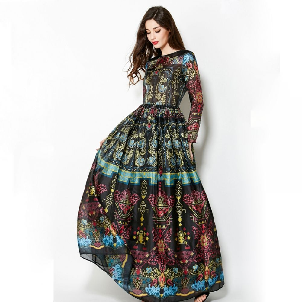 Elegant Empire Ball Gown Temperamental Slim Retro Vintage Maxi Dress Vintage Maxi Dress Maxi Gown Dress Long Sleeve Gown [ 1000 x 1000 Pixel ]