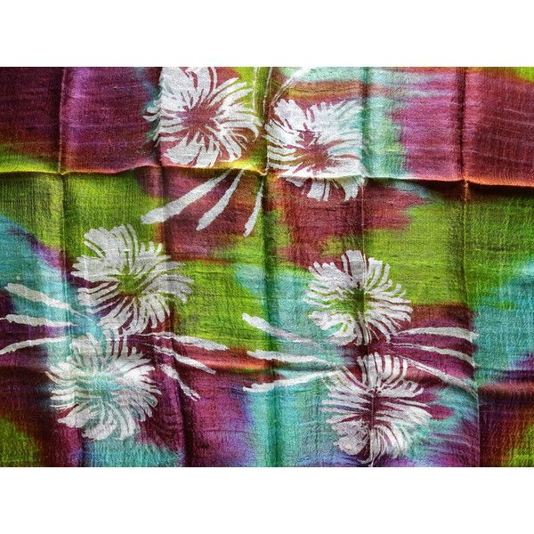 Colorful Silk Shawl Hand Dyed Handwoven Batik Handmade Wedding Gift... (£22) ❤ liked on Polyvore featuring accessories, scarves, silk scarves, silk shawl, lightweight shawl, shawl scarves and pure silk scarves