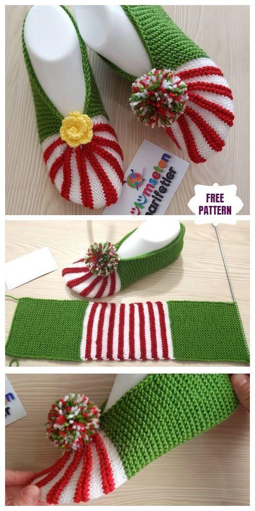 Photo of Easy Knit Christmas Slippers Kostenlose Strickanleitung – Stricken Ideen – Stric…