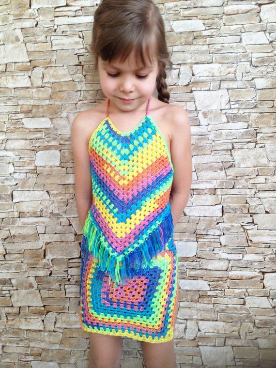 Crochet toddler set top and skirt Rainbow granny square wrap skirt Open back fringe top Beach clothing childrens Colorful crochet outfit