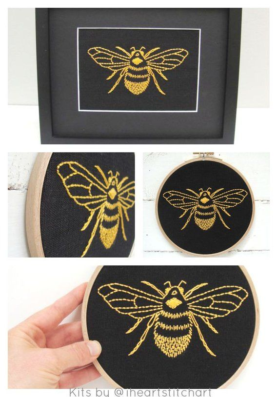 PDF embroidery pattern bumblebee download hand embroidery