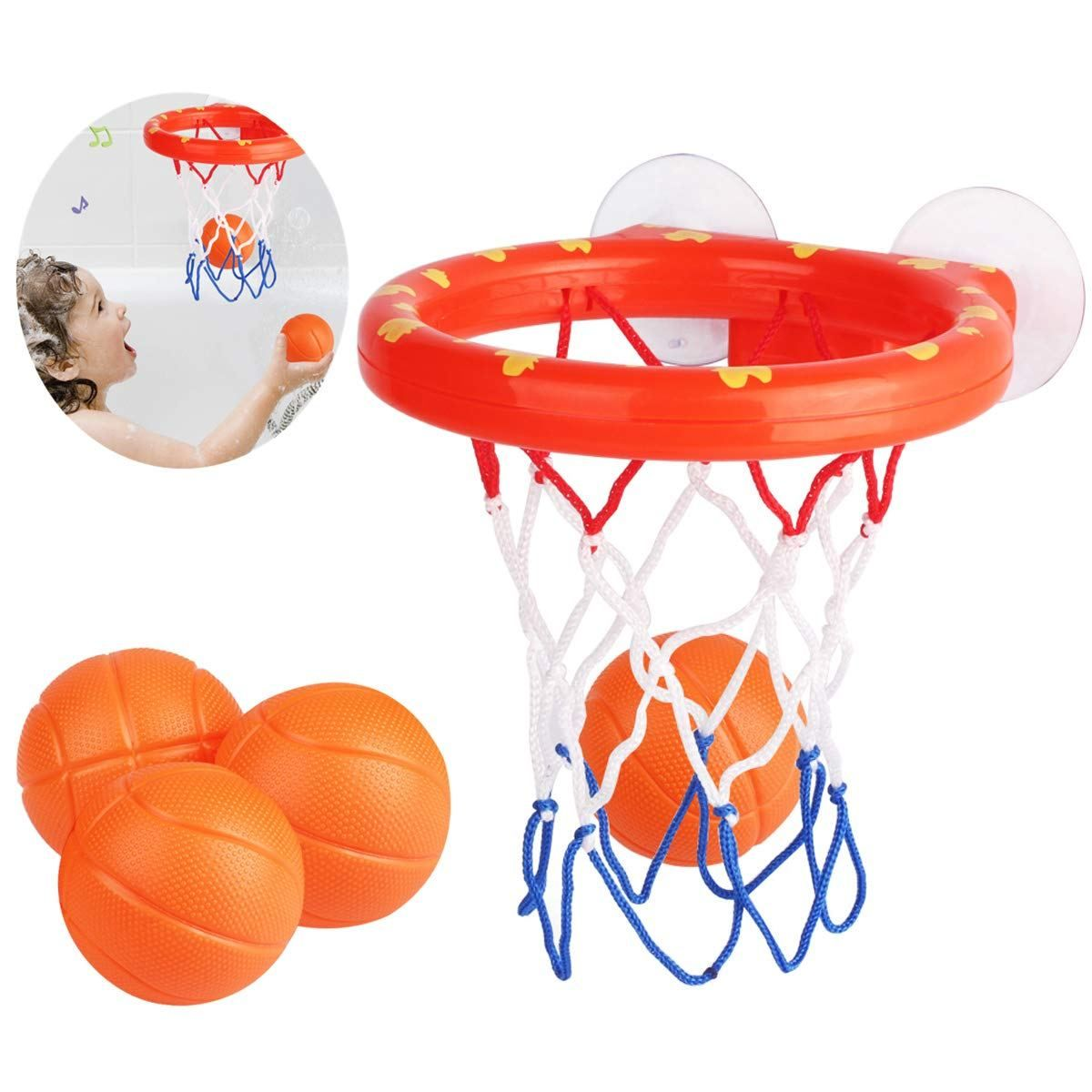 Amandir Bath Toys Basketball Hoop Balls Playset 4 Balls Included For Boys And Girls Baby Basketball Toy Bathtub Shooting Game For Kids Toddlers Bath Toys Bathtub Toys Shooting