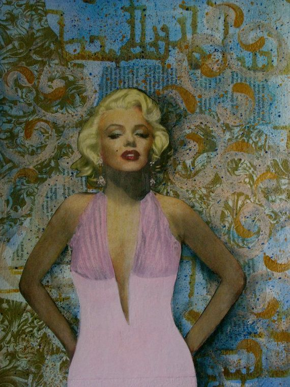 Marilyn Forever   11 X 15 Original Collage by DaunaShoulders