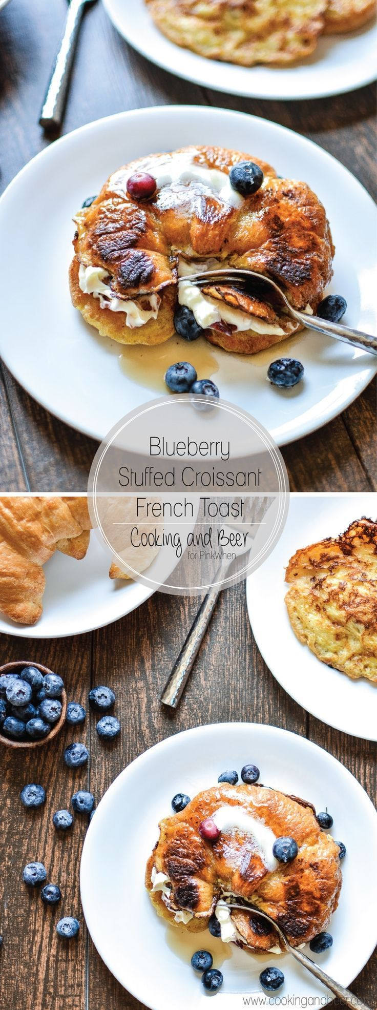Dekadenter Blaubeergefüllter französischer Toast des Hörnchens mit Speck. - Blaubeergefüllter französischer Toast des Hörnchens mit Speck.  -