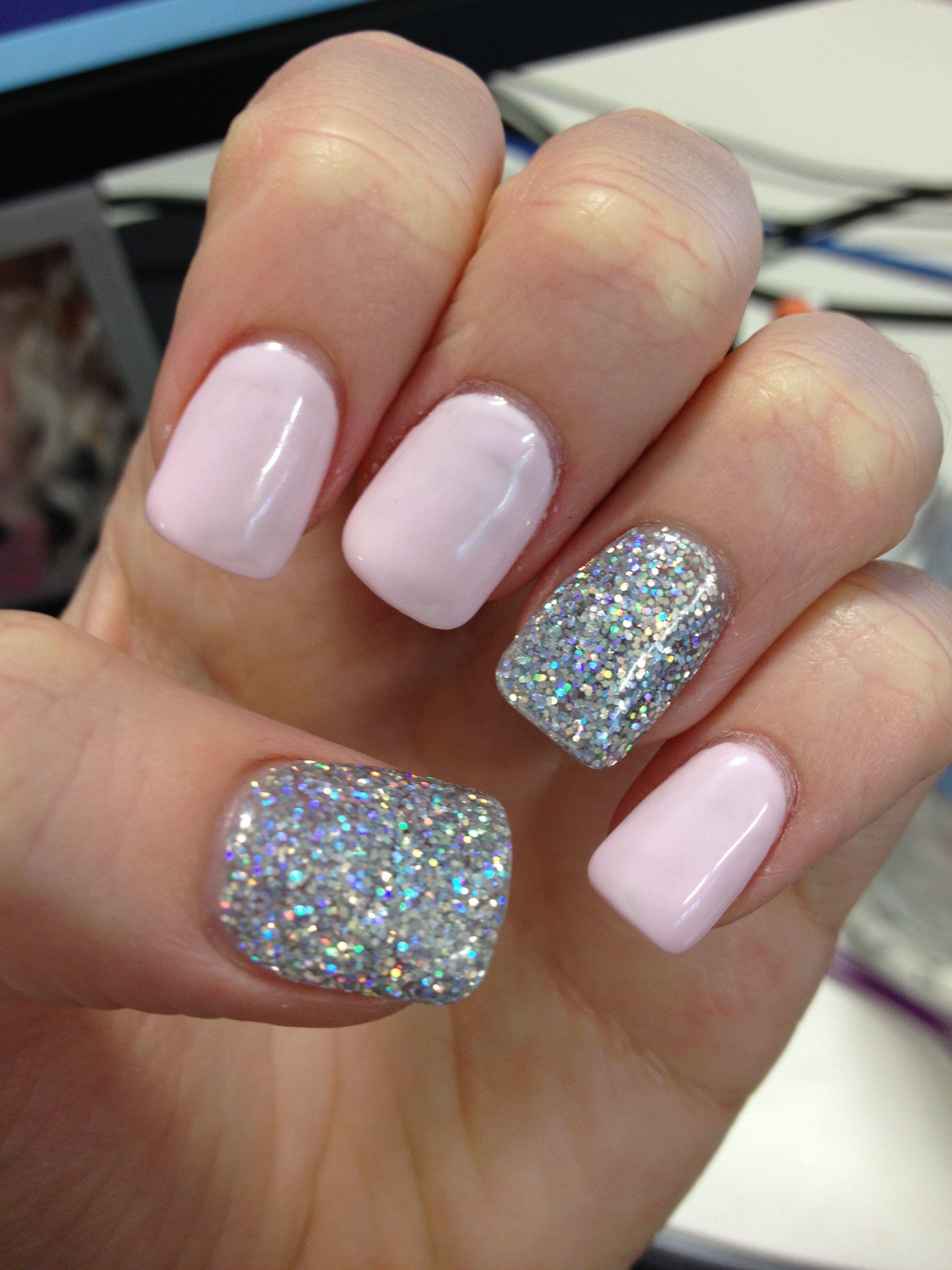 Light pink, silver features acrylic | Nail art | Pinterest ...