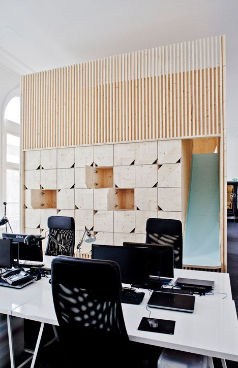 Wooden meeting rooms by Estelle Vincent include a slide | Office ...