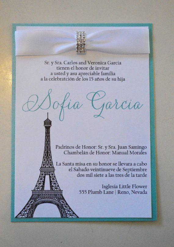 quinceanera invitations paris invitation spanish invitation lupe