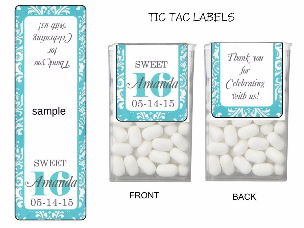 28 Sweet 16 Birthday Party Favors Tic Tac Labels Stickers PINK or BLUE | eBay