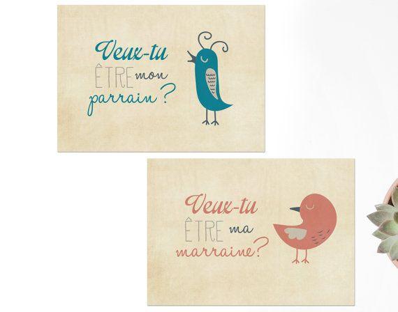 2 Cartes Postales Veux Tu Etre Mon Parrain Ma Marraine Pour Une