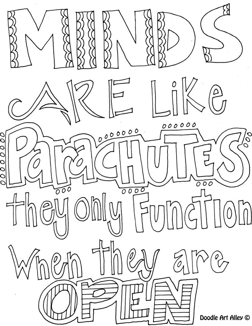 Mandala coloring pages with quotes - Minds Are Like Parachutes From Quotes Coloring Pages