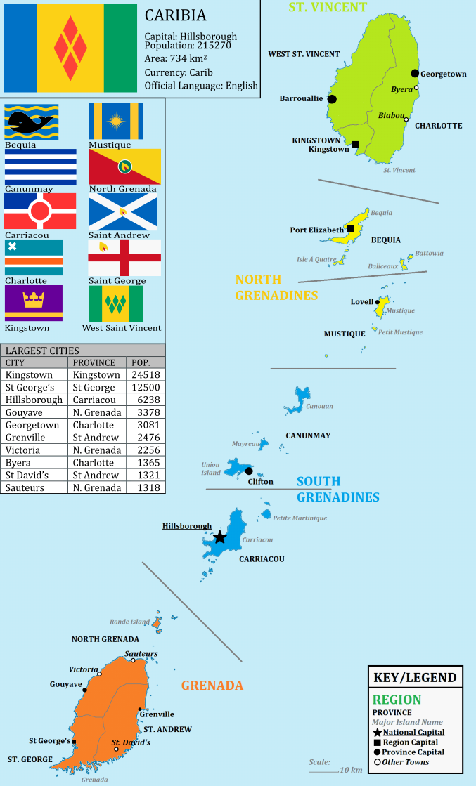 Caribia, a union between Grenada and St. Vincent and the Grenadines ...