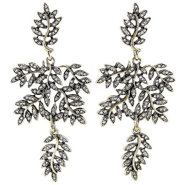 Preowned Vintage 80s Rhinestone Leaves Floral Drop Earrings ($165) ❤ liked on Polyvore featuring jewelry, earrings, beige, rhinestone jewelry, drop earrings, rhinestone stud earrings, vintage rhinestone jewelry and clear drop earrings