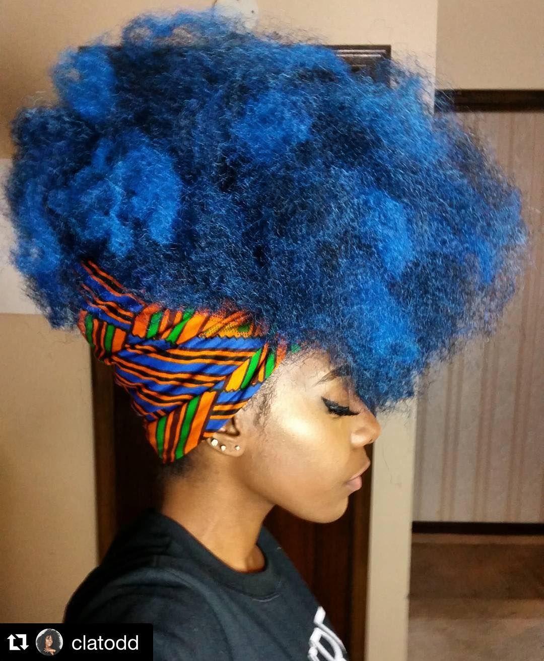 Natural Hair Afro Puff Clatodd Blue Natural Hair Natural