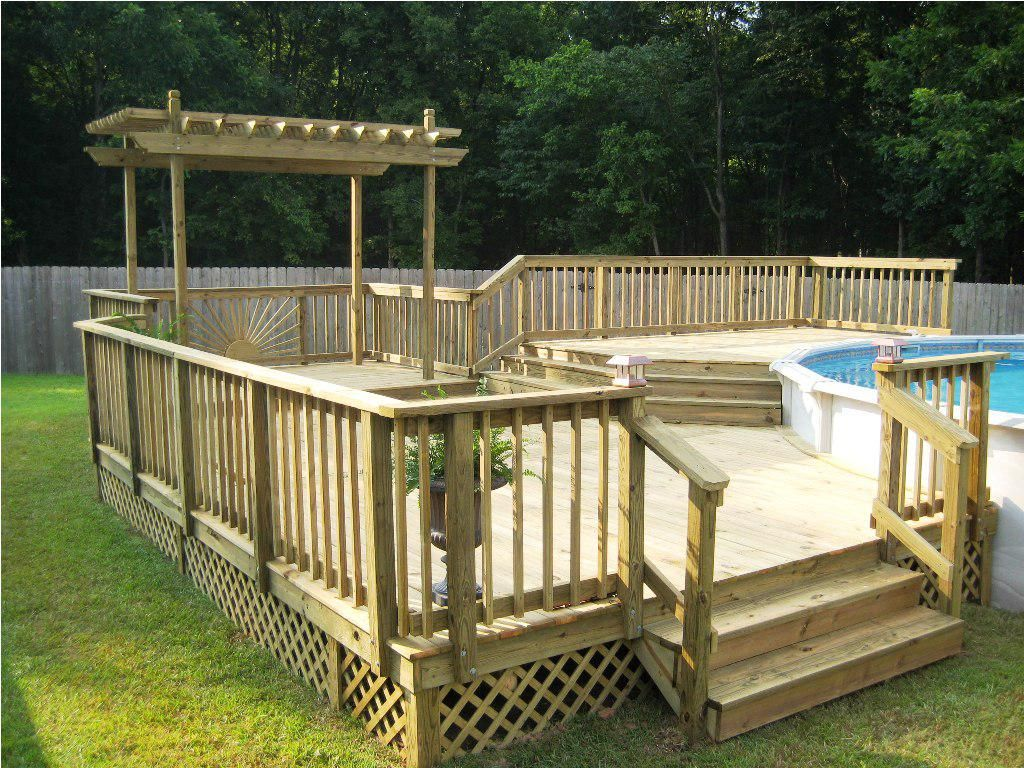 Formidable above with design above ground deck ideas brown for Above ground pool decks indianapolis