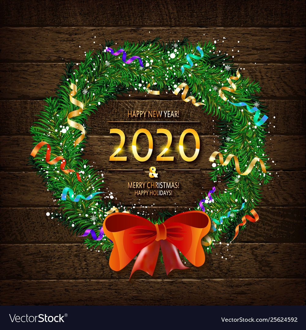 Merry Christmas And Happy New Year 2020 Vector Image On Vectorstock Merry Christmas And Happy New Year Happy New Year 2020 Merry Christmas