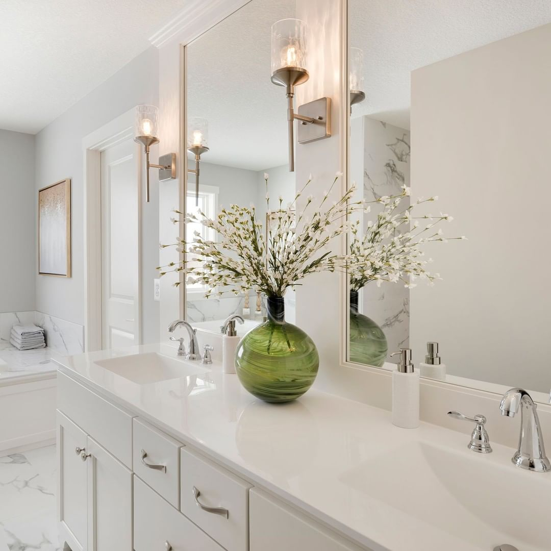 Lovely Sconces In The Bright Master Bathroom From Tristar Homes Master Bathroom Framed Bathroom Mirror Bathroom [ 1080 x 1080 Pixel ]