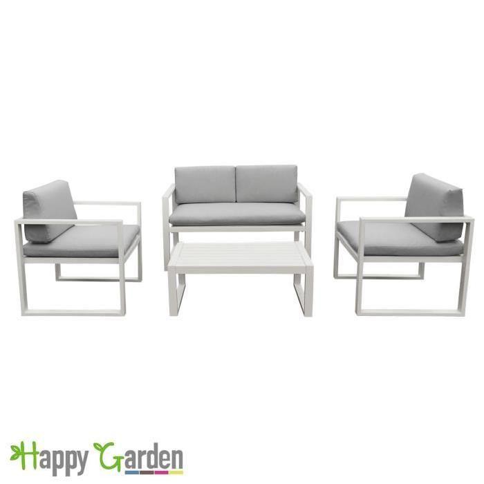 Salon de jardin IBIZA en tissu gris clair 4 places - aluminium blanc