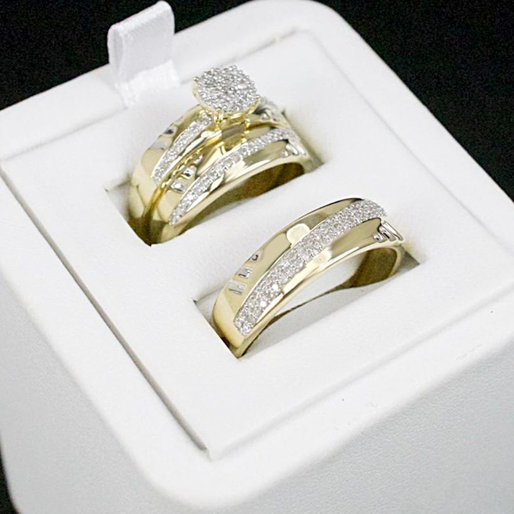 Wedding 14k Yellow Gold Over 1 00ct Diamond Trio Bridal Band