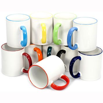 Brightly coloured rim and handle sublimation mugs