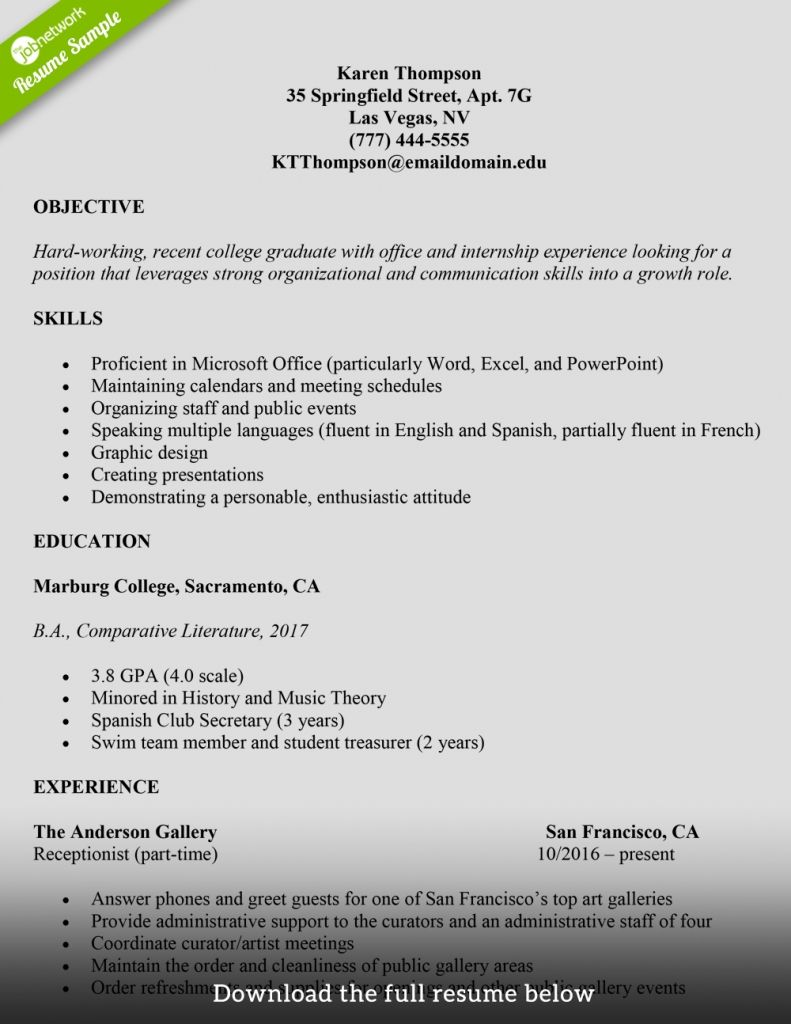 Resume Example For College Students to be able
