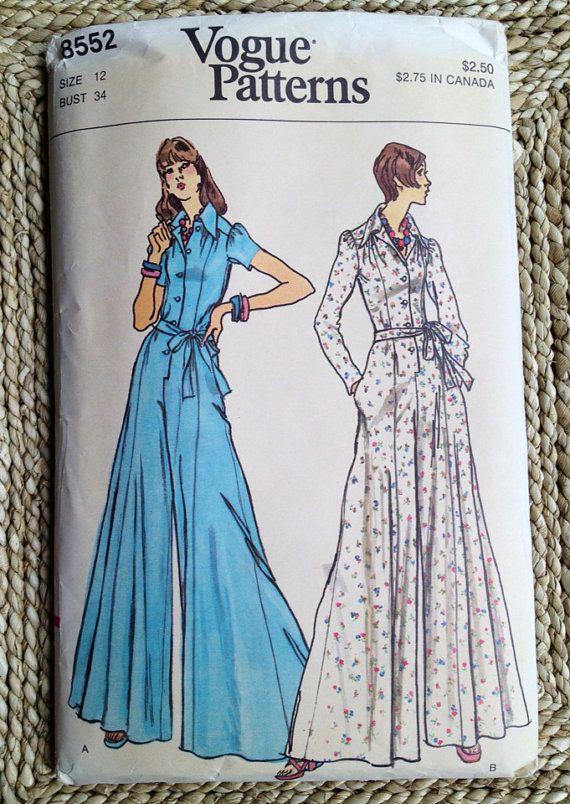 Vintage 1970s sewing pattern Vogue 8552 high waist Jumpsuit ...