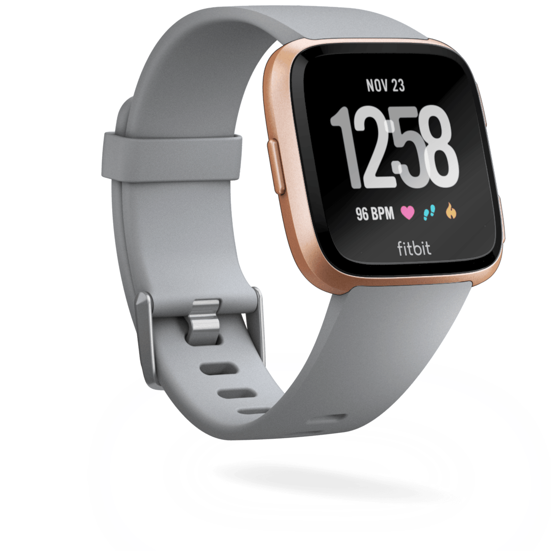 Rose Gold Face Gray Band Fitbit Versa Smart Watch Buy Fitbit Fitbit Smart Watch