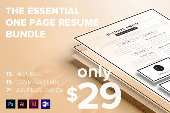 The Essential 1 Page Resume Bundle Fonts - 1 page resume