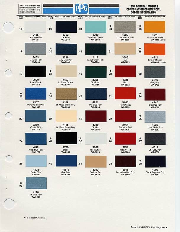Gm Auto Color Chips Chip Selection Paint Codes Car Colors