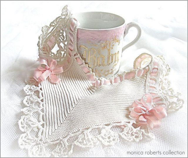 antique hand-crocheted French baby bib (bavoir) and china cup ...