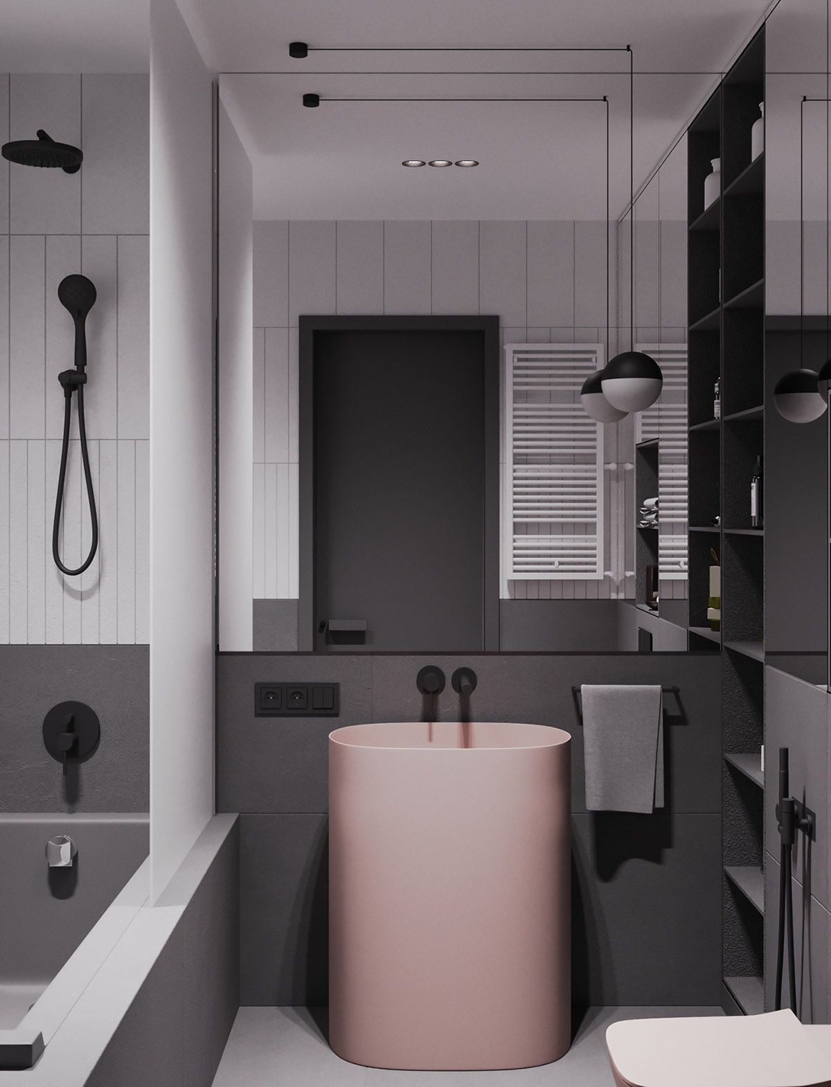 A Striking Example Of Interior Design Using Pink Grey Bathroom Interior Bathroom Interior Design Grey Interior Design