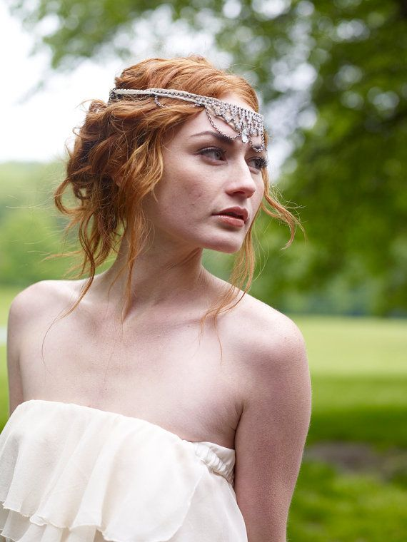 1920s Crystal Rhinestone Refashioned Headband with Silk Chiffon & Chain- Bohemian Princess Wedding Halo Headband