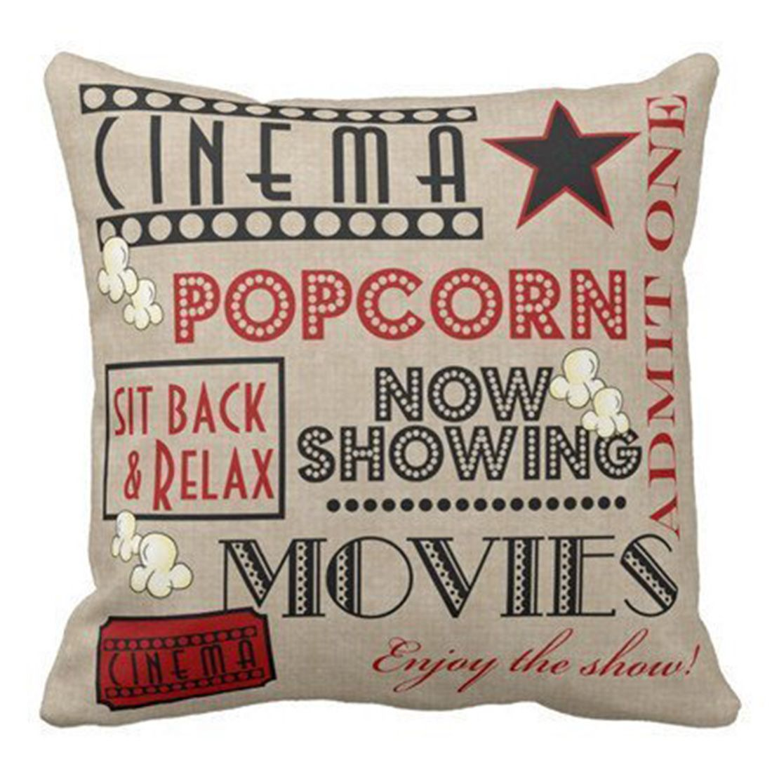Hipsteen movie theater english letters printing cotton linen square