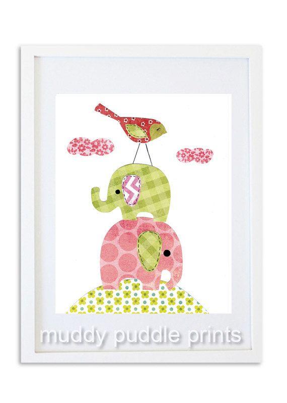 nursery Art Nursery decor elephant art print by MuddyPuddlePrints, $14.00