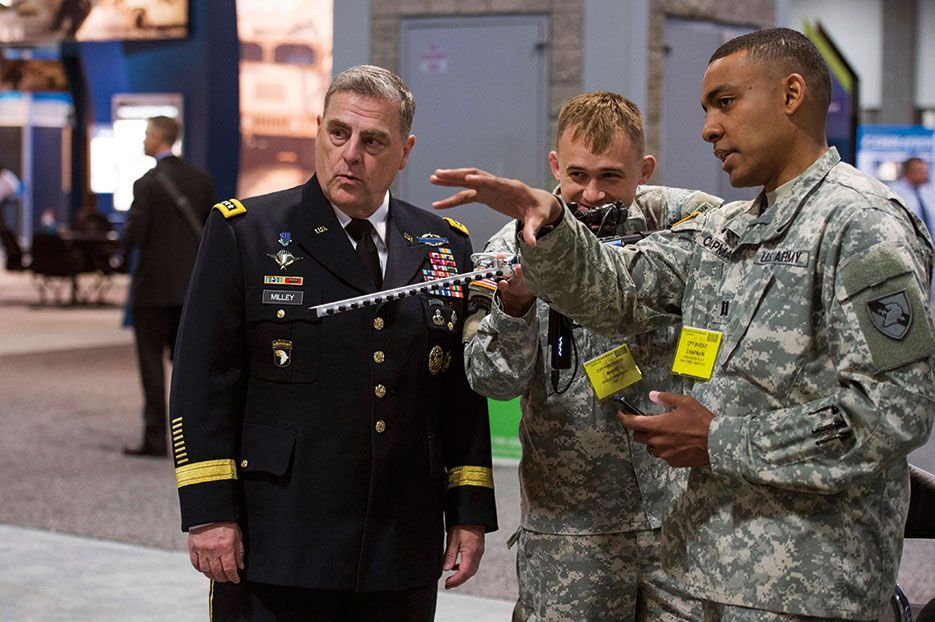 U S  Army Chief of Staff General Mark Milley watches officers from