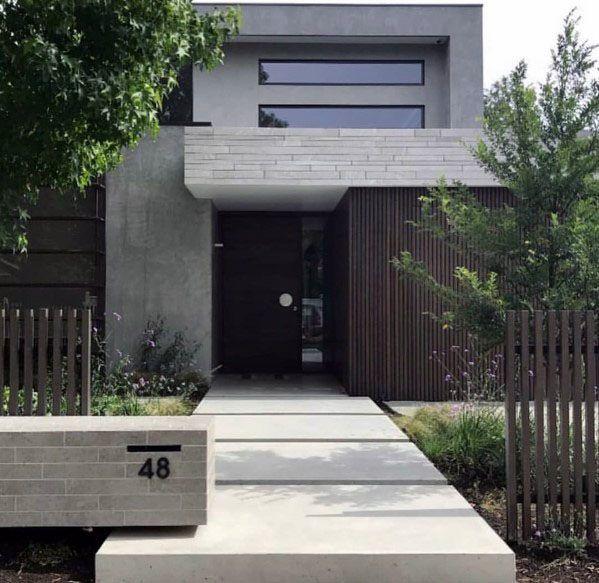 Garage Door Landscaping Ideas: Top 60 Best Concrete Walkway Ideas