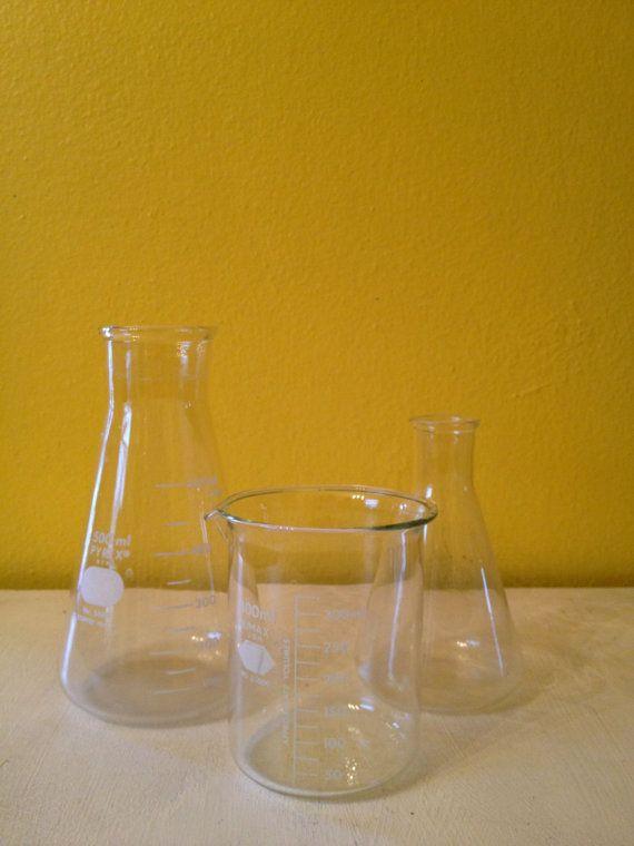 Pyrex Lab Glass Beaker Set Set Of 3 Vase Home Decor Pyrex